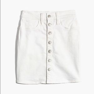 Madewell White Denim Button Front Skirt Size 25